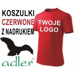 Koszulki z nadrukiem Adler 160 g czerwone