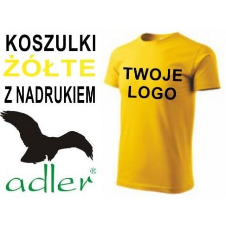 Koszulki z nadrukiem Adler 160 g żółte