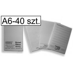 Notesy, bloczki czarno-białe A6, pakiet 40 szt.