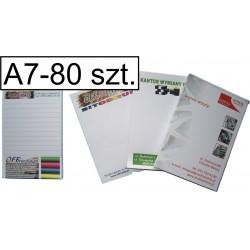 Notesy, bloczki kolorowe A7, pakiet 80 szt.