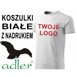 Koszulki z nadrukiem Adler 160 g białe