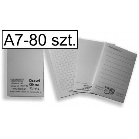 Notesy, bloczki czarno-białe A7, pakiet 80 szt.