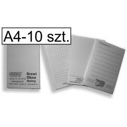 Notesy, bloczki czarno-białe A4, pakiet 10 szt.