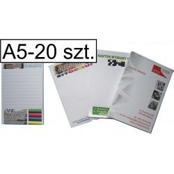 Notesy, bloczki kolorowe A5, pakiet 20 szt.